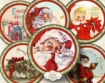 Christmas Circles - Digital Collage Sheet - 2,5 inch - Pocket Mirror - Cupcake Toppers - Jewelry Handmade - Christmas Stickers - Labels