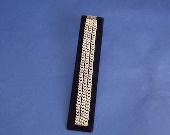 FREE SHIPPING -Signed Vintage Sterling Peruvian 3 Link, S Shape Bracelet