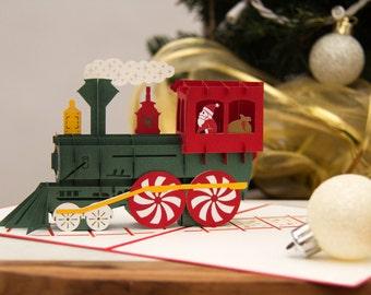 Santa Train Pop Up Christmas Card, Santa Train Card, Christmas Card, Holiday Card, Santa Pop Up Card, Train Pop Up Card, Polar Express