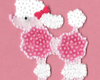 Poodle - Dog - Pet - Dog Lover - Sequin - Pink & White Iron On Applique Patch