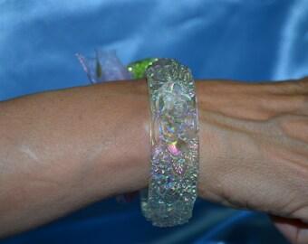 Vintage Pink and Green Opalescent Bangle Bracelet, Translucent