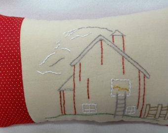 Barn Hand Embroidered Mini Pillow, Country Decor, Farm Building