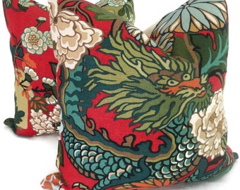 Pair of Red Lacquer Schumacher Chiang Mai Dragon Pillow Covers