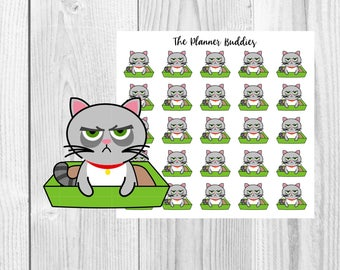 Rick the Cat, Chores, Cat Litter Box, Cleaning, Functional Stickers, Planner Stickers