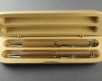Father's Day Gift for Gun Lovers Custom Pen and Pencil Set M1 Rifle Clip Walnut Wooden Gift Box Target Shooter Hunter Collector NRA Member