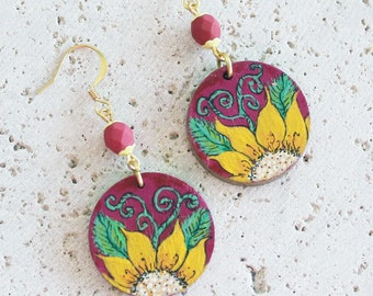 Summer earrings, handpainted earrings, handpainted wood earrings, flower earrings, flower jewelry, wood earrings, art earrings, wearable art
