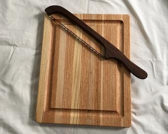 Edge Grain Carving Board, Carving Board, Juice Groove, Wood Cutting Board, Wood Carving Board, Bread Knife, Charcuterie Board