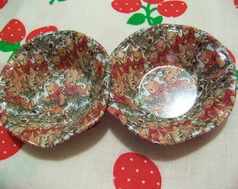 tiny midwest importers christmas bear tin bowls