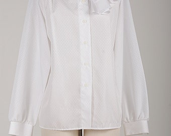 Renaissance Romance Lady like BOW TIE RUFFLED Button Down Shirt with a Pearl Button Runway