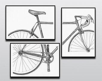 Bicycle Art Print, Bike Art Print, Vintage Campagnolo : 3-Piece Bianchi Art Print Set