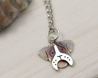 Boxer Dog Necklace - Sterling Silver Boxer Dog Jewellery - Boxer Dog Gifts
