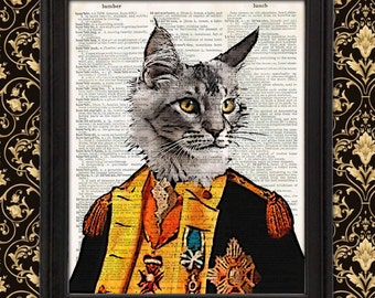Baron Catrich Von Steuben Cat Art, funny cat art, funny cat print, whimsical art, unique gift, unique home decor funny office decor wall art