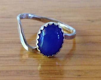 Sterling Silver Stackable Child's Ring with Blue Gemstone