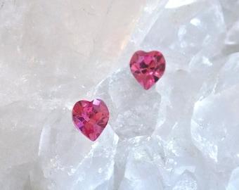 Crystal Earrings 6.6mm Heart Swarovski Rhinestones, Stud-Post Earrings, 1 Pair, Surgical Steel Posts, 13 Colors