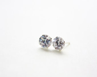 7mm CZ Stud Earrings, Sterling Silver Bracket Post, Stud Earrings 7mm Crystals, Ready to Ship