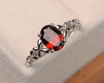 Natural red garnet ring, promise ring, oval cut gemstone, January birthstone, sterling silver ring