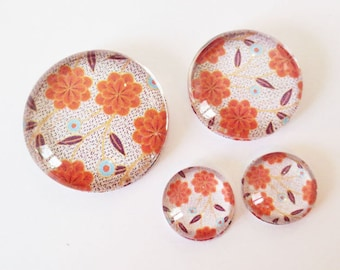 "Lot 4 theme ""RETRO - Orange flowers"" (craftsmanship) cabochons 12mm / 20mm / 25mm"