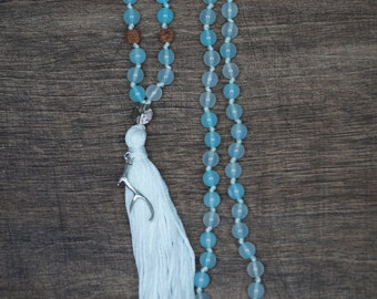 Sky Blue Agate Mala necklace