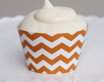 INSTANT DOWNLOAD – Printable Orange Chevron Cupcake Wrapper – Printable Cupcake Wrappers