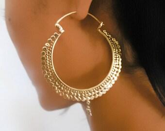 Brass Earrings - Brass Hoops - Gypsy Earrings - Tribal Earrings - Ethnic Earrings - Indian Earrings - Tribal Hoops - Indian Hoops (EB54)