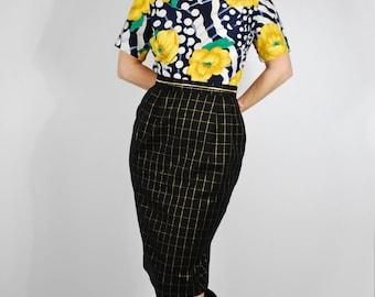 Vintage Pencil Skirt - 80s Wool Black & Gold Skirt - High Waisted Skirt - Size Small