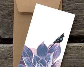 BF146: Phainopepla in Succulent - Pack of 8 eco-friendly flat cards