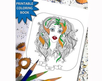 Zodiac Signs ADULT COLORING BOOK, 12 Adult coloring printable pages, Instant Download Printable, Coloring Book For Girls