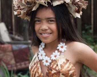 Authentic Tapa Cloth Lei Upo'o Or Haku. Perfect For Both Male & Female, Pageant, Wedding, Luau Or Tahitian, Hawaiian, Cook Islands Dancers!