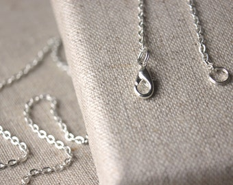 "22 inch silver chain necklace light antiqued silver plated chain necklace 3mm - 2mm SMALL link chain 22"" long silver chain flat link SF38"