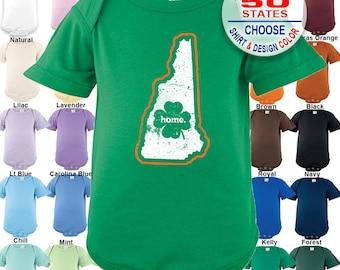 New Hampshire Home State Irish Shamrock Bodysuit / Boys / Girls / Irish / St. Patty's Day