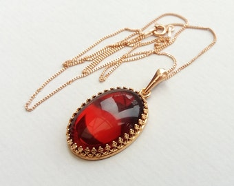 Rose Gold Vermeil Garnet Red Jewel Necklace, Vintage Czech Glass, January Birthstone, Also in Sterling Silver and Yellow Gold Filled