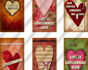 Valentine Domino Digital Collage Sheet Art 1x2 inch Images Hearts (Sheet no.FS114) Instant Download