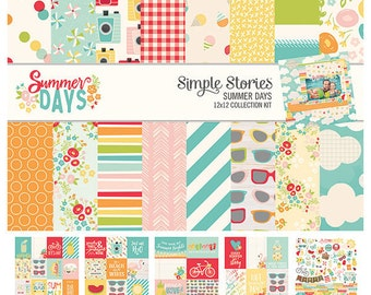 Simple Stories Summer Days 12x12 Collection Kit, Scrapbook Paper, Paper Kit, Summer Paper, 12x12 Paper, Card Making Paper