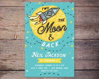 Love You TWO the Moon and Second Birthday Invitation, Moon and Stars 2nd Birthday Invitation, Space Printable Digital File – Neil
