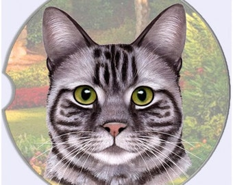 Silver Tabby Cat Sandstone Absorbent Dog Breed Car Coaster