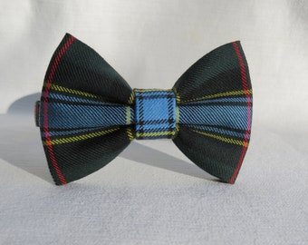 Bow Tie, Labrador Tartan Bow Tie for Graduation, Newfie Bow Tie, Labrador Wedding Tie for Groom and Ring Bearer, Boy Labrador Green Blue Tie