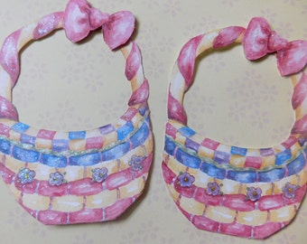 Set of Two Easter Basket Paper Pieces - Easter Scrapbook Embellishment