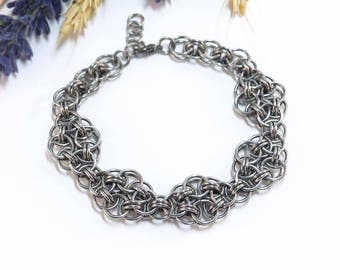 Bracelet made of metal. Chainmaille.