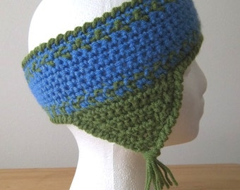 Headband - Crochet Headband with Earflaps for Winter Times in Blue and Green