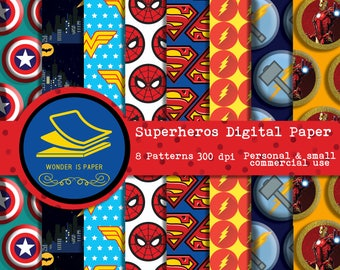 Superheros Digital Papers - 8 Designs 12x12in, 30x30 cm - Ready to Print - High Quality