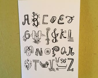 Hand lettered // Inspirational // Goody greeting card // Funky Alphabet