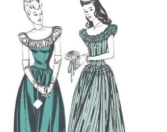 1940s Butterick Sewing Pattern 3741 Evening Gown Garden Tea Party Dress Fitted Bodice Dirndl Skirt Puff Sleeve Prom Debutante Bust 32