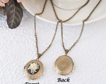 Ivory Flower Locket Cream Flower Necklace Black Cameo Necklace Locket Jewelry Photo Locket Bronze Locket Keepsake Gift Mother's Day Gift