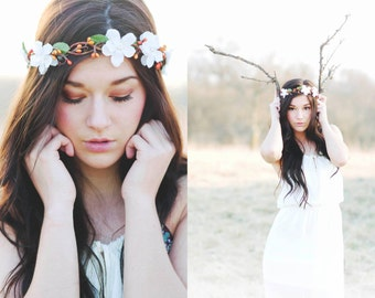 bridal headpiece, rustic wedding flower, bridal hair crown, woodland wedding, flower crown for hair