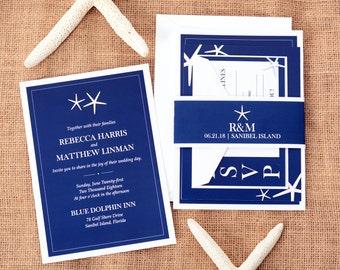 Wedding Invitations - DEPOSIT TO START White Starfish Suite - Custom Wedding Invites -Personalized Wedding Invitation Suites - #wdi-162