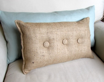 lumbar style 11x19 Burlap Pillow with natural burlap buttons