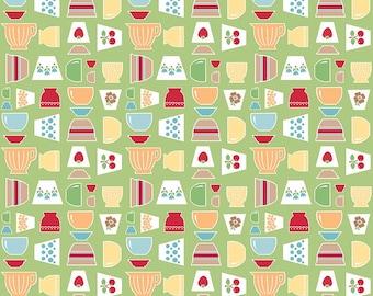 Lori Holt Bake Sale 2 Fabric - Green Bowls - 1/2 yard