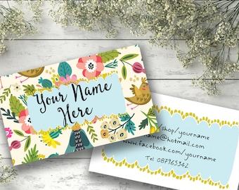 Custom business card design printable watercolor floral modern customised business card design bright whimsical colorful watercolor illustration custom modern flowers birds personalised colourmoves