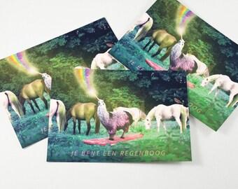Fun Rainbow Lama Horse Postcards