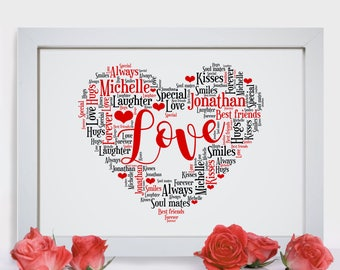 Personalised Love Heart Word Wall Art Picture Print Wife Girlfriend Valentines Anniversary Wedding Gift